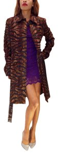 Via Spiga Animal Print Faux Fur Faux Leather Trench Coat Tiger Brown Jacket