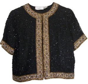 Laurence Kazar Top Sequined Black and Gold
