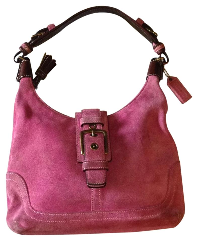 fdc3ffb5504 Coach 7471 Purple Pink Suede Shoulder Bag - Tradesy