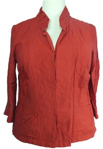 Jones New York 3/4 Sleeve Plus Size Fashions Button Down Shirt Brick Red