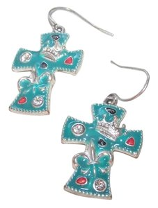 Sunnity Western Teal Enamel Cross Earrings Free Shipping