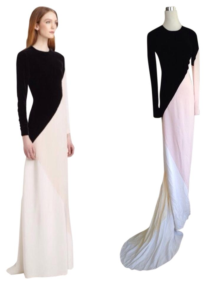 Stella McCartney Royal Black/Ivory/Pink/White Colorblocked Silk ...