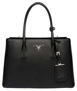 Prada Saffiano Double Saffiano Cuir Cuir Twin Tote in Nero Black
