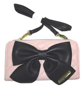 Betsey Johnson Wallet on a String quilted diamonds blush cross body wallet