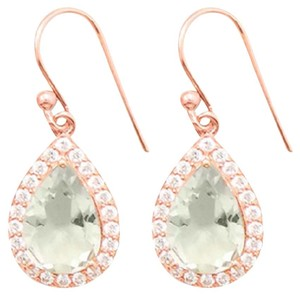 Sterling Collections 14K Rose Gold Plated Green Amethyst Earrings