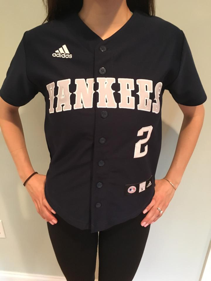 new styles cdfb4 2613d adidas Blue Jersey Ny Yankees Button-down Top Size 4 (S) 57% off retail
