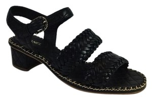 Chanel Woven & Quilted Low Heels Woven Gold Wide Straps Buckle Closing Black Sandals