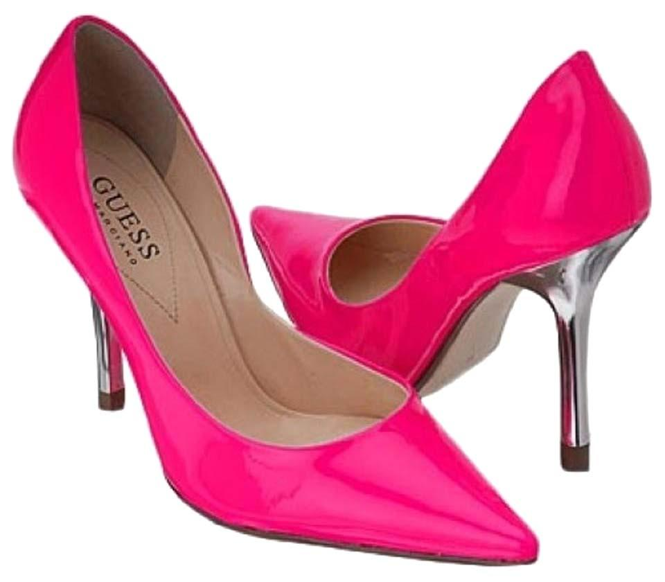 01272611181 Guess By Marciano Neon Pink Carrie Hot Stilettos Pumps Size US 7 Regular  (M, B) 75% off retail