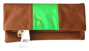 Steve Madden Brown Night Out Date Night Brown/Neon Green Clutch