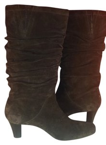 Talbots Leather Suede Women Size 7 Slouchy Designer Heels brown Boots