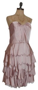 Rebecca Taylor Scalloped Fringe Tiered Bustier Romantic Pale Dress