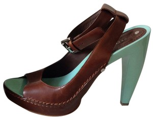 Céline Open Toe Leather Ankle Strap Brown Teal Platforms