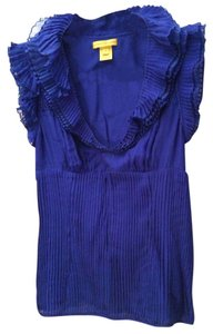 Catherine Malandrino Layered Pleats Silk Delicate Top Blue