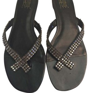 Pelle Moda Black with crystals. Sandals