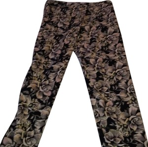 Topshop Straight Pants Black Green Multi Flower