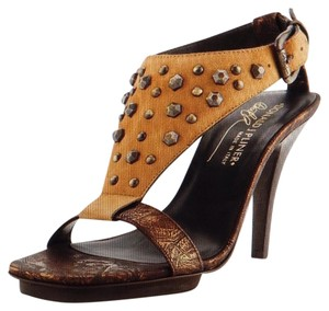 Donald J. Pliner Leather Studded Tan Platforms