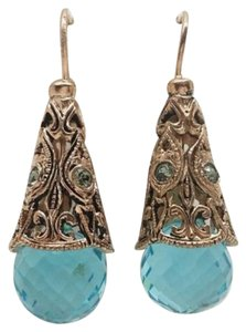 Mia Fiore MIA FIORE 14K ROSE GOLDPLATED BRONZE ITALIAN RENAISSANCE SWAROVSKI BLUE CUT CRYSTAL ELEMENTS EARRINGS