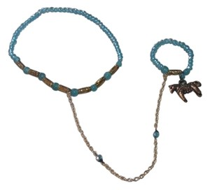 Other BOGO Connected Ring & Bracelet Horse Blue Beaded Jewelry Set Free Ship