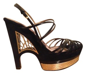 Sam Edelman Black Patent Unique Gold Cage Black/Gold Platforms
