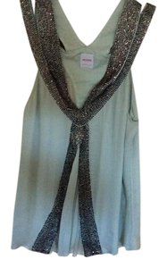 sass & bide Silk Blouse Sm Top Powder blue w/black beaded crystals