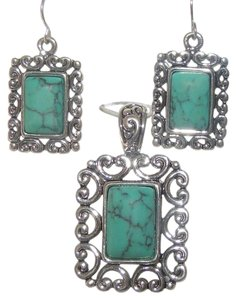 Icon Antiqued Silver & Turquoise Pendant/Earring Set Free shipping