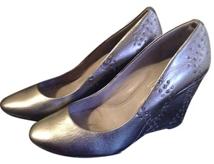 Kenneth Cole Silver Metallic Pewter Wedges