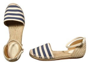 Gucci Ankle Strap Espadrilles & Striped Canvas. Classic Blue & Natural Flats