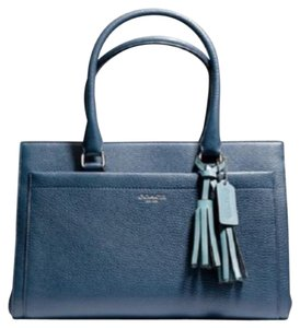 Coach Legacy Pebbled Blue Tote Satchel in coastal blue