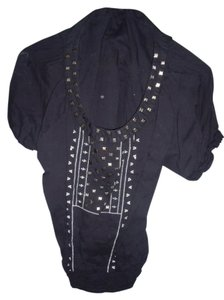 Flutterbye Studded Boho Gypsy Hippie Top Black