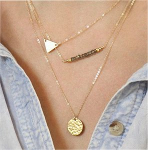 geometric triangle charm beaded necklace Multi layered Gold chain geometric triangle necklace,layering turquoise necklace, 2016 jewelry necklace trend