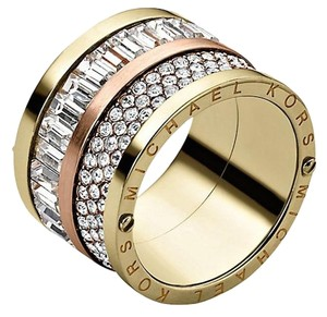Michael Kors NWT Michael Kors Multi Stone Gold / Rose Gold Barrel RIng Size 8 Pave and Stone NEW