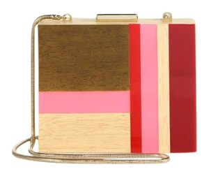 Tory Burch Cube Red, pink, wood Clutch