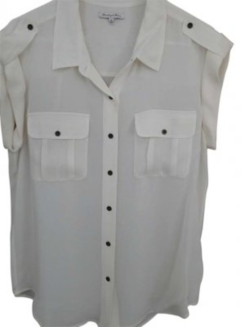 Madewell Broadway & Broome Silk Epaulette Top Cream