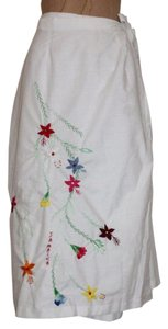 Other Jamaican Peasant Floral Enmbroidered Hippie Wrap Summer Skirt WHITE