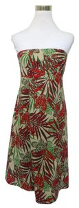 Gap short dress Khaki Floral Strapless on Tradesy