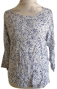 Zara Print Top White Blue Stars