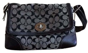 Coach Satchel in signature print, grey and black