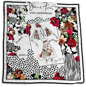 Diane Freis Ltd. DIANE FREIS 1988 10TH ANNIVERSARY SILK SCARF-DOTS-FLORALS-BIRDS-BLACK-WHITE
