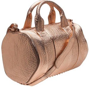 Alexander Wang Studded Leather Satchel in Rose Gold Metallic