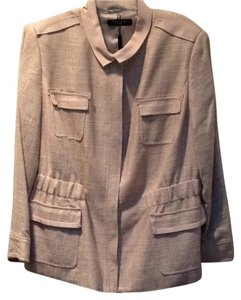 Tahari Linen Fully Lined Metal Hardware Beige Jacket