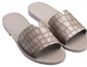 Vince Croc Leather Slide Gray Gray Flat Gray Smokewood Sandals