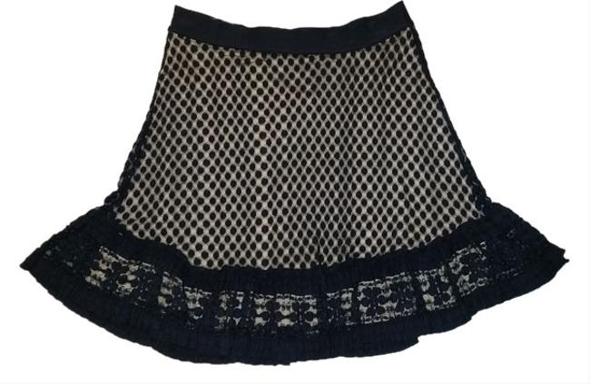 Item - Black Multi Textured Mesh Lace Over Nude Colored Liner Mini Skirt Size 10 (M, 31)