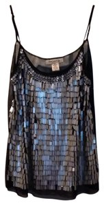 Arden B. Sequin Beaded Party Fringe Top Metallic