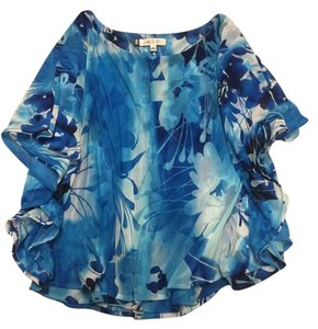 Jennifer Lopez Chiffon Summer Casual Top Blue