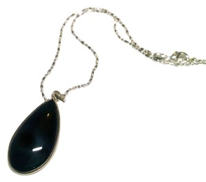 New Agate Gemstone 925 Silver Pendant Necklace 18 Inch Black J556