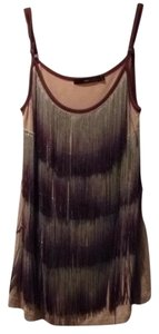 Hazel Fringe Party Ombre Top Beige