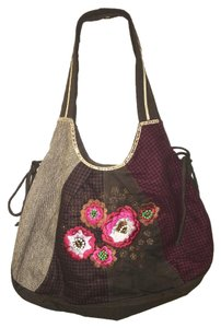 Other Soft Vegan Embroidered Plaid Cotton Hobo Bag