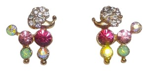 New 14K Gold Filled Poodle Stud Earrings Crystals Small J2627