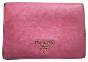 Prada Prada,Pink,Saffiano,Leather,Bifold,Wallet