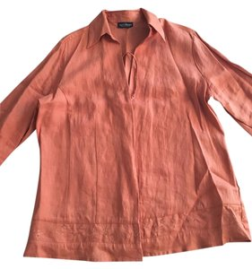 Neiman Marcus Rag & Bone Shirt Linen Button Down Shirt Orange